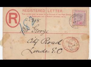 Grenada: 1924 St. George registered letter to London