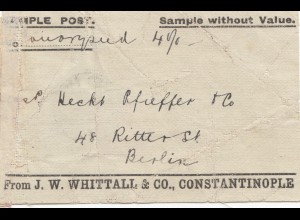 Constantinople: 1902 Sample withouth Value to Berlin