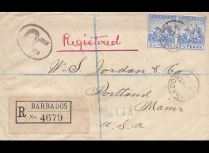 Barbados: 1896: Registered to Portland / USA