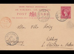 St. Vincent: 1896 post card Kingstown via London to Schildau/Germany