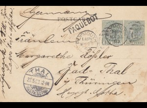 Lagos: 1903 post card Plymouth via Paquebot to Bad Thal/Germany, Paquebot