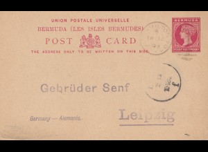 Bermuda: 1893 post card - to Gebrüder Senf, Leipzig - Germany
