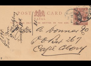 Natal: postcard 1898 to cape colony