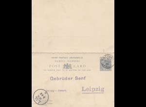 Gambia: post card 1895 to Gebrüder Senf/Leipzig