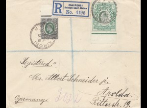East Africa and Uganda Protecorates: Registered 1913 Nairobi to Apolda/Germany