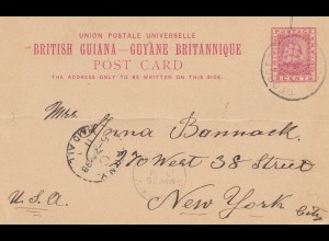 British Guiana: 1898: post card to New York