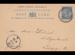 Jamaica: 1896: post card Kingstown to Leipzig