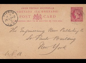Grenada: Bony post card 1897 to New York