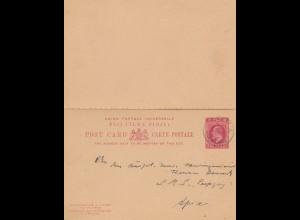 Fiji: post card 1909 to S.M.S. Leipzig - Apia