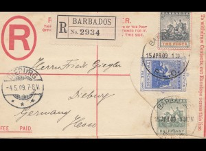 Barbados: 1909: Registered letter to Dieburg/Germany