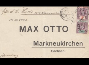 Gold Coast: 1908: letter via S.S. Lucie Woermann to Marktneukirchen/Germany