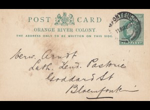 Orange River Colony: post card 1908 to Bloemfontein