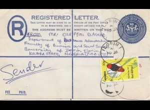 Nigeria: Registered letter Ilorini to BMW Germany 1985