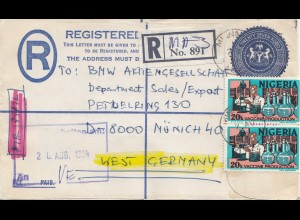 Nigeria: Registered letter to BMW München 1984