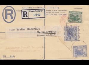 Malay: 1925: Registered Kuala Lumpur to Berlin