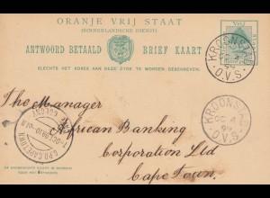 Oranje Vrij Staat, 1899: postcard Kronstad to Cape Town