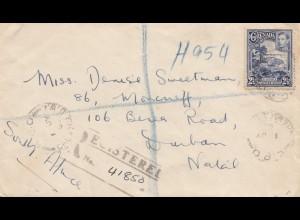 Grenada: 1898 registered letter to Durban / Natal