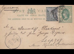 Cape of good hope: post card 1896 to Leipzig