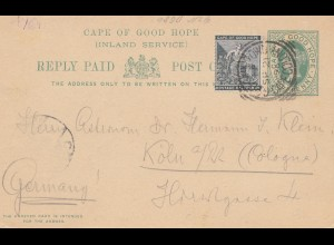 Cape of good hope: post card 1896 to Köln