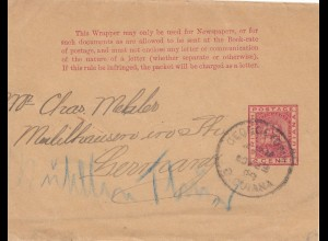 British Guiana: wrapper 1889 Georgetown to Mühlhausen/Germany