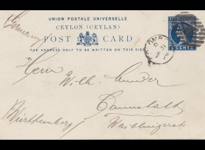 Ceylon: post card 1896 to Cannstatt/Germany
