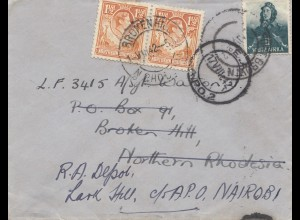 Northern Rhodesia: 1942: letter Grahamstown to Nairobi