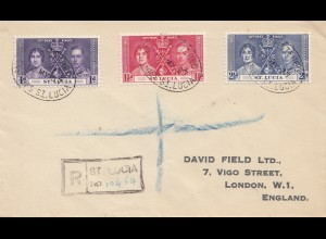 St. Lucia 1937 letter registered to London
