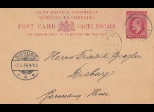 Grenada: post card 1909 to Dieburg/Germany