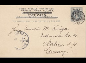 Orange River Colony - post card 1903 Bloemfontein to Mr. Krüger Berlin
