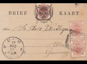 Vrij: 1895 post card to Ulm/Germany