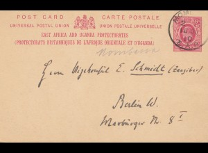 East Africa and Uganda Protecorates: post card Momasa to Berlin
