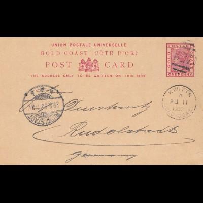 Gold Coast: post card 1902 Kwitta to Rudolstadt/Germany