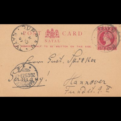 Natal: Post card 1897 to Hannover
