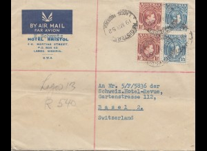 Nigeria: 1952 Air Mail Lagos to Basel - Hotel Bristol