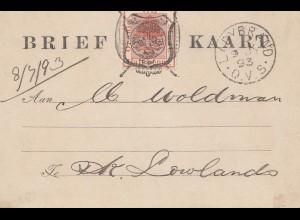 Vrij: 1893: Brief Kaart Ladvbrand