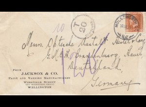 New Zealand: 1923 Wellington to Germany - Taxe