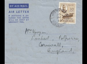 North Borneo: 1953 Air Mail Jesselton to Cornwall/England