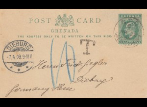 Grenada: post card 1909 to Dieburg - Taxe