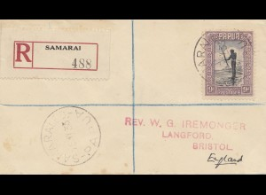 Papua: Registered Samarai 1933 to Bristol