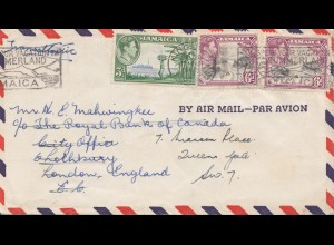 Jamaica: Air Mail 1948 by air Mail to London