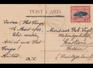 Toga: post card Neiafu Vavau 1910 to Castione/Switzerland