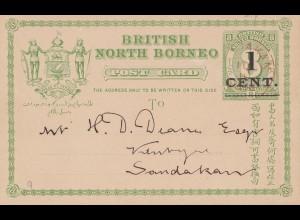North Borneo: post card 1892 to Sandakan