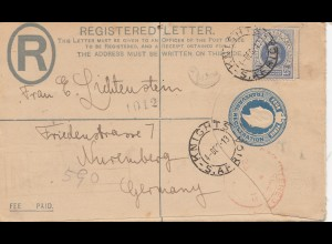 Transvaal: Knights registered letter 1913 to Nürnberg