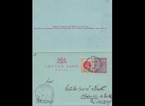 Natal: 1895: letter card to Hedersleben/Halle