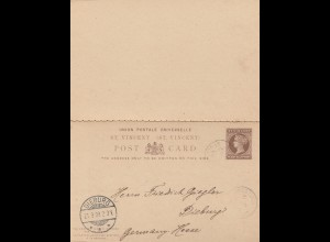 St. Vincent: post card 1909 to Dieburg/Germany