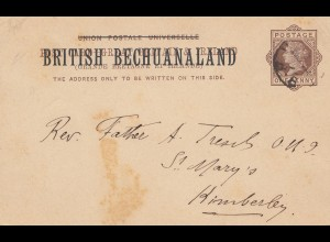 Bechuanaland post card 1893 to Kimberley