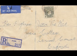 Nigeria: 1949 air Mail registered Kano to Cornwall