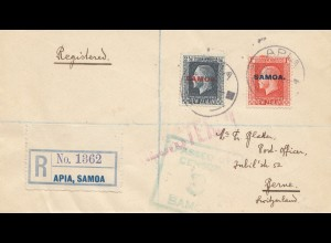 Samoa: Registered 1918 Apia to Bern/Switzerland
