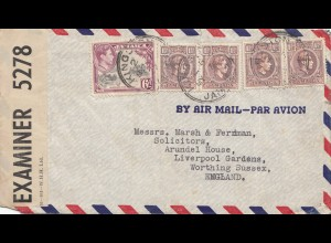 Jamaica: 1942: Air Mail Kingston to Worthing Sussex, Liverpool Gardens, censor