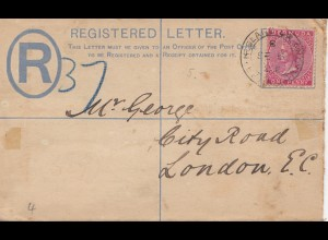 Bermuda: Registered letter 1902 to London